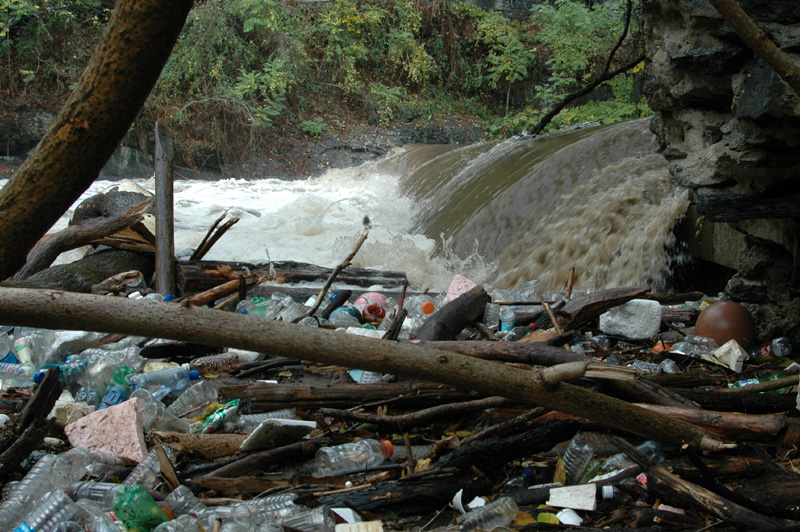 Stormwater Runoff: trash and debris in dirty waterway